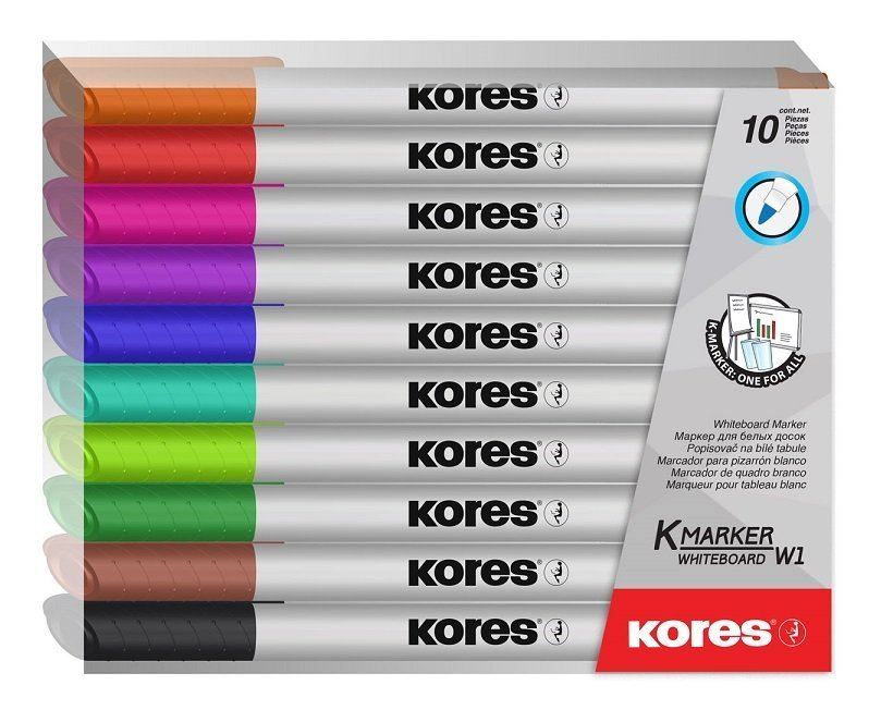 Popisovač na bílé tabule K-MARKER WHITEBOARD, tenký hrot, sada 10 barev