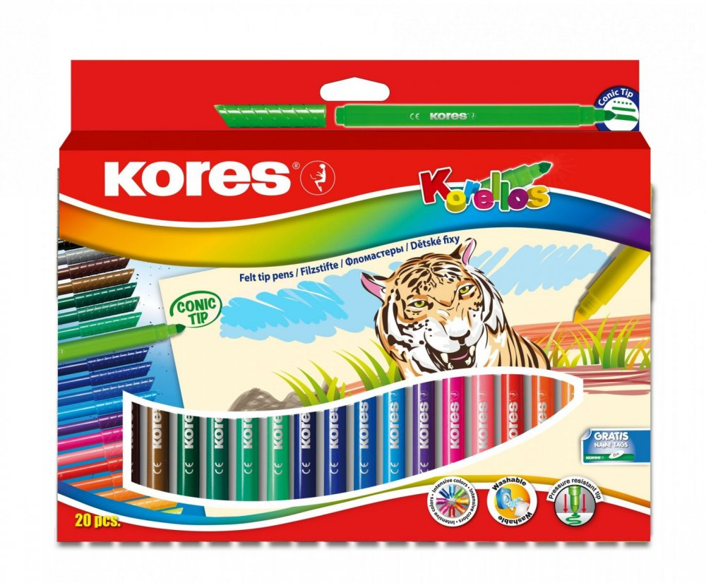 Dětské fixy Korello – silný hrot, 20 barev