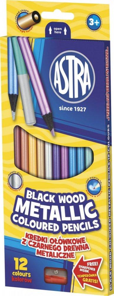 Metalické pastelky – černé dřevo + ořezávátko