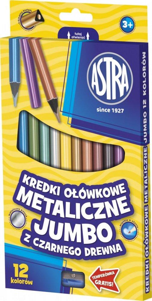 Metalické pastelky JUMBO – černé dřevo
