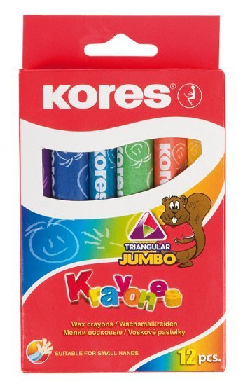 Voskové pastelky Krayones – trojhranné JUMBO, 12 barev