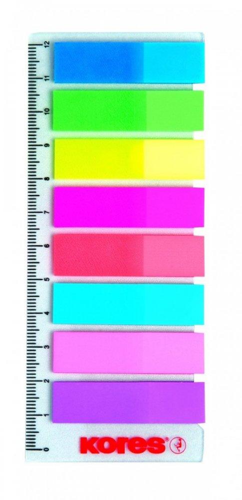 Neonové záložky Index Strips na pravítku 45x12 mm / 8 x 25 lístků