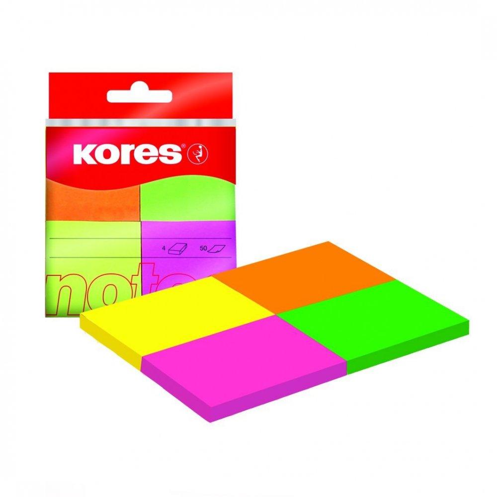 Neonové bločky Kores Multicolour ve 4 barvách 40x50 mm / 200 lístků