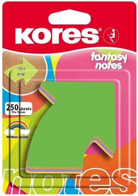 Neonové bločky 70x70mm tvar šipky / 250 lístků, mix 5 barev
