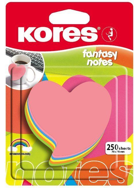 Neonové bločky 70x70mm tvar srdce / 250 lístků, mix 5 barev