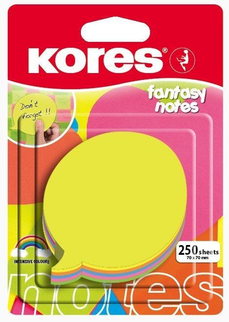 Neonové bločky 70x70mm tvar bubliny  / 250 lístků, mix 5 barev