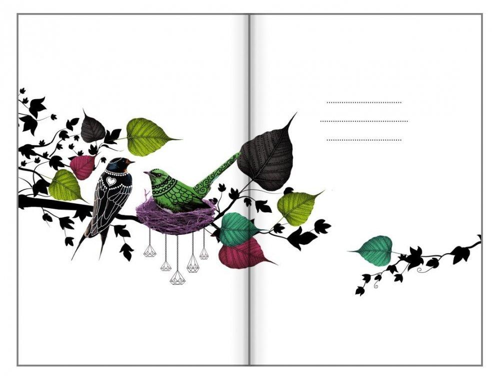 Tečkovaný zápisník, zpívající strom, 100 x 140 mm