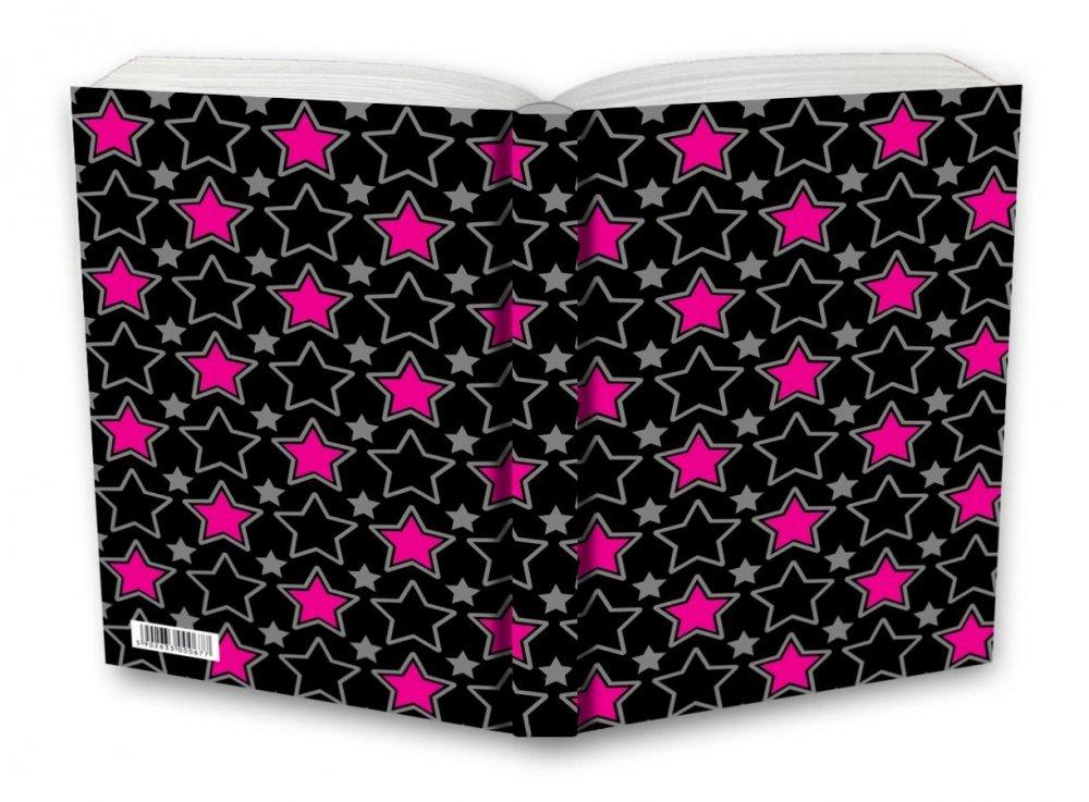 Tečkovaný zápisník, růžové hvězdy, 195 x 135 mm