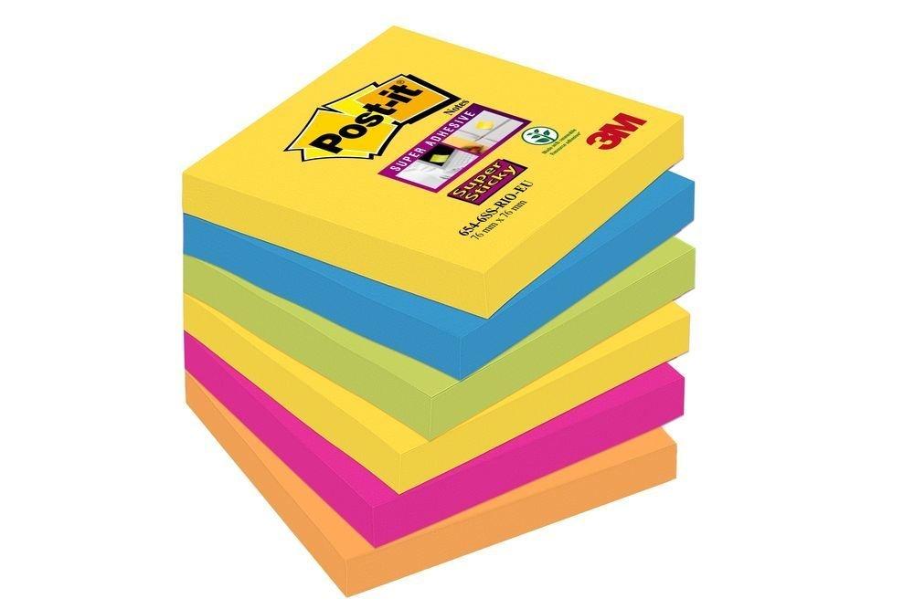 3M Post-it silně lepicí bločky kolekce Rio, velikost 76x76 mm, 2x žlutá, 2x fuchsiová, 2x zelená, 6 bločků po 90 lístků