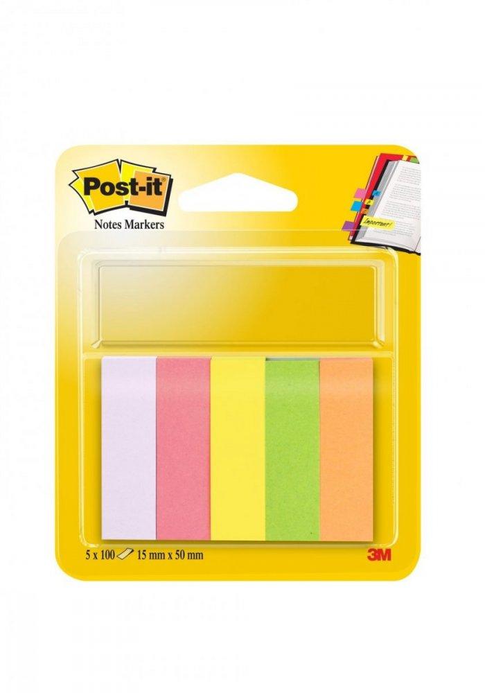 3M Post-it papírové značkovací záložky, 15 x 50 mm, neonové barvy (fialová,růžová,žlutá,zelená,oranžová), 5x 100ks