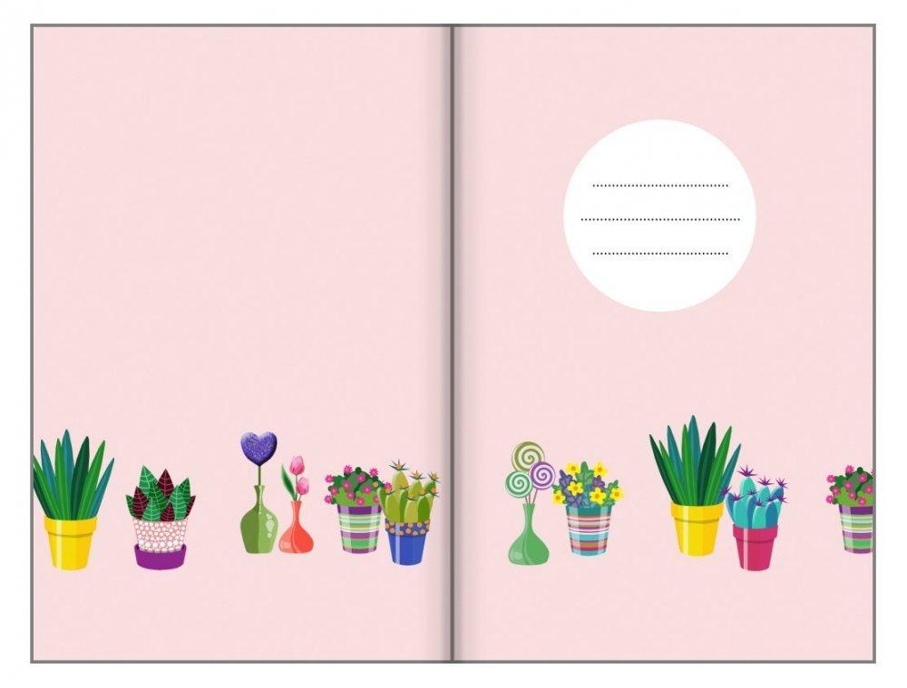 Tečkovaný zápisník, květináče, 195 x 135 mm