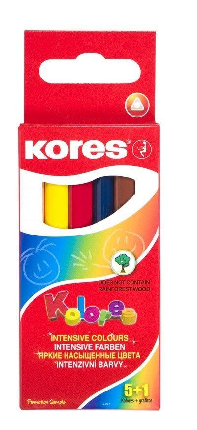 Trojhranné pastelky MINI SET 5+1, 3 mm / 5 barev + 1x obyčejná tužka