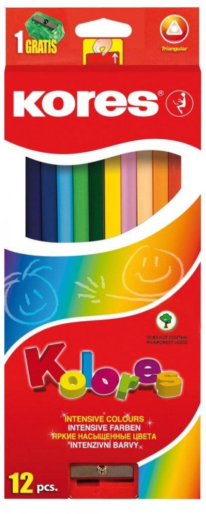 Trojhranné pastelky, 3 mm, s ořezávátkem / 12 barev