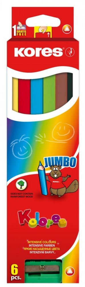 Jumbo trojhranné pastelky 5 mm, s jumbo ořezávátkem / 6 barev