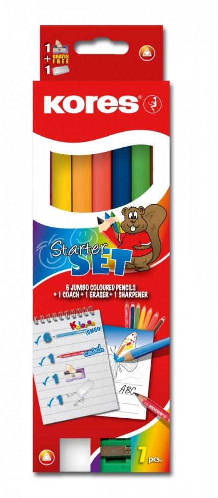 Jumbo Starter Set - 6x trojhranné pastelky 5 mm + 1x Coach tužka + ořezávátko + guma