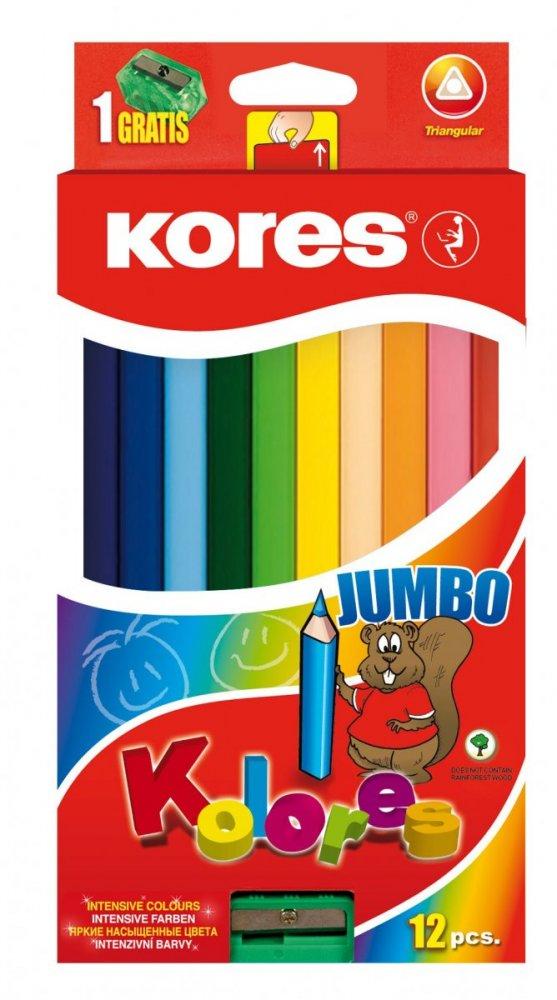Jumbo trojhranné pastelky 5 mm, s jumbo ořezávátkem / 12 barev