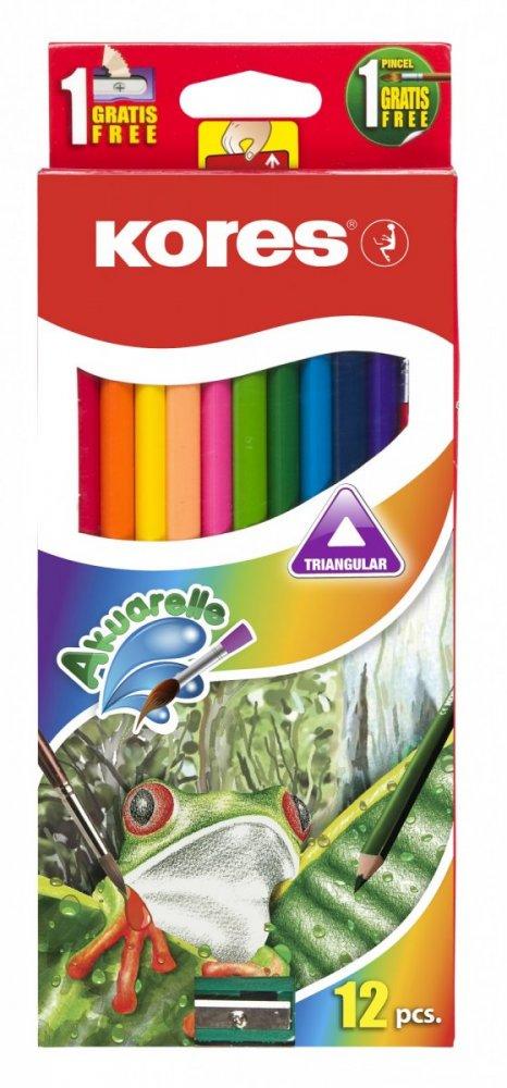 Akvarelové pastelky trojhranné 3 mm / 12 barev, ořezávátko + štětec