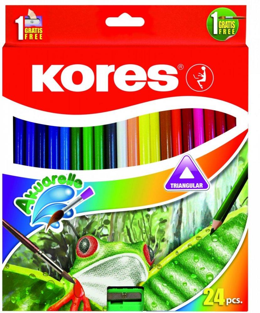Akvarelové pastelky trojhranné 3 mm / 24 barev, ořezávátko+ štětec