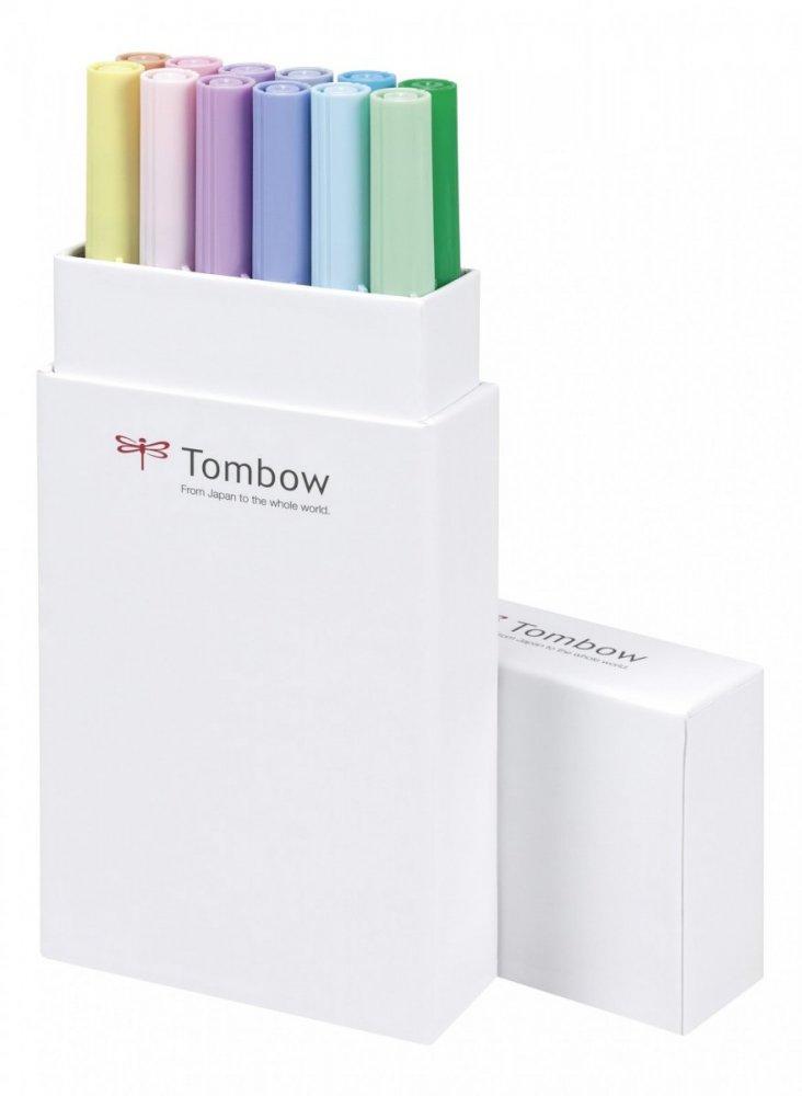 Sada oboustranných fixů ABT Dual Brush Pen – Pastels, 12 ks