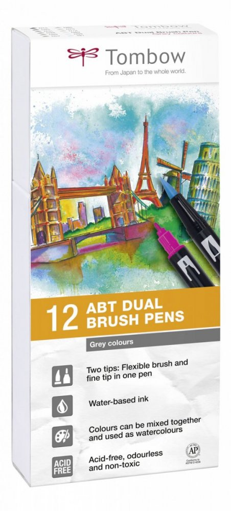 Sada oboustranných fixů ABT DUAL BRUSH PEN – Grey tone, 12 ks