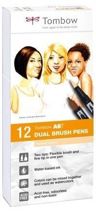 Tombow Sada oboustranných fixů ABT Dual Brush Pen – Portrait colors, 12 ks