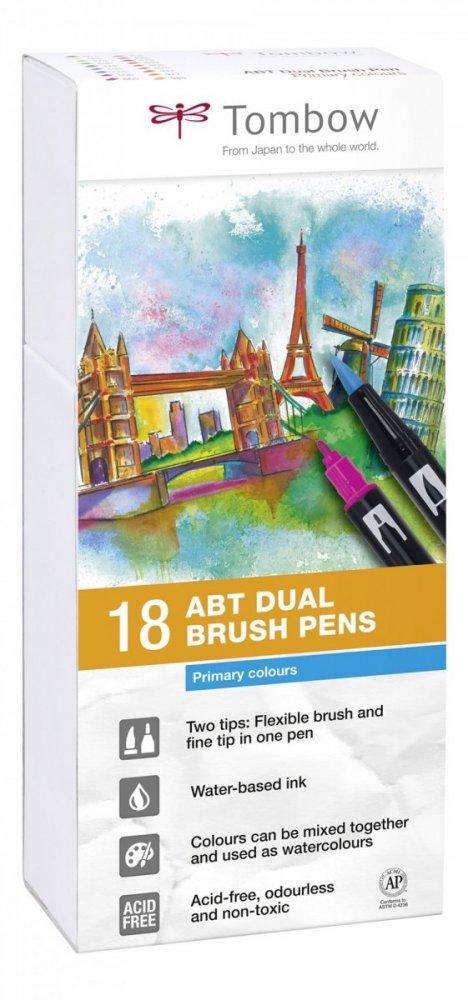 Sada oboustranných fixů ABT DUAL BRUSH PEN – Primary colours, 18 ks
