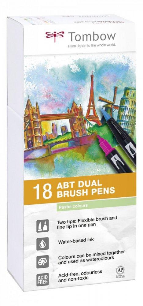 Sada oboustranných fixů ABT DUAL BRUSH PEN – Pastels, 18 ks