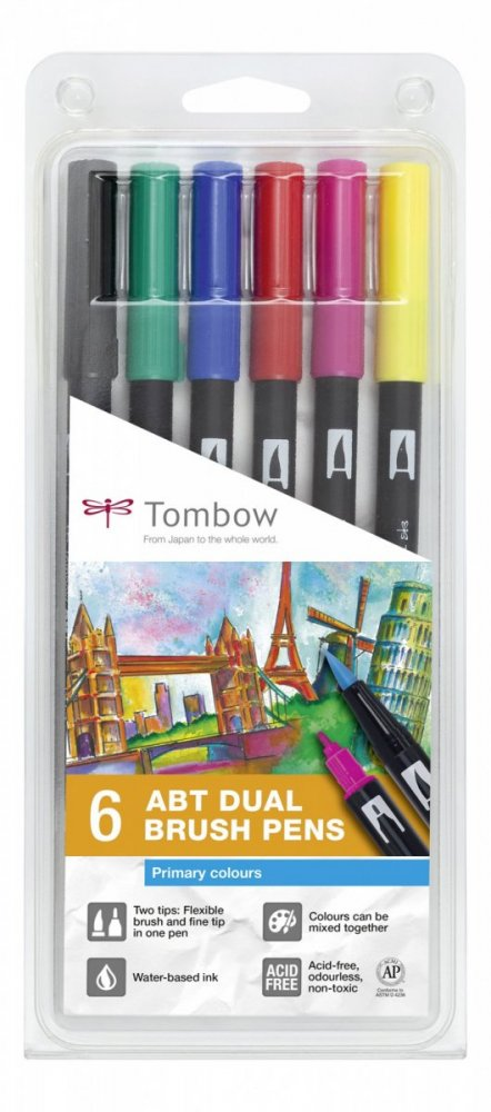 Sada oboustranných fixů ABT Dual Brush Pen – Primary colours, 6 ks