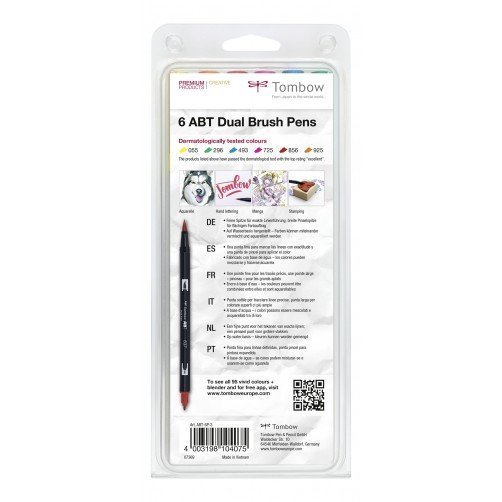 Tombow Sada oboustranných fixů ABT Dual Brush Pen – Dermatologicaly tested, 6 ks