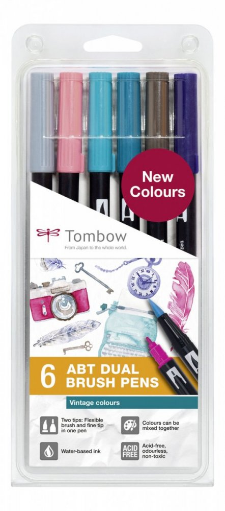 Sada oboustranných fixů ABT DUAL BRUSH PEN – Vintage colours, 6 ks