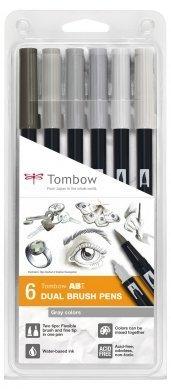 Tombow Sada oboustranných fixů ABT Dual Brush Pen – Gray colors, 6 ks