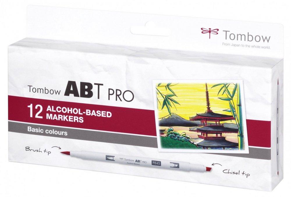Sada oboustranných lihových fixů ABT PRO se dvěma hroty – Basic colors, 12 ks