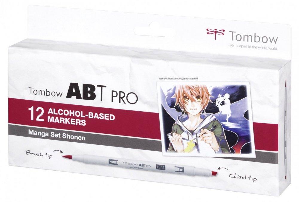Sada oboustranných lihových fixů ABT PRO se dvěma hroty – Manga Set Shonen, 12 ks