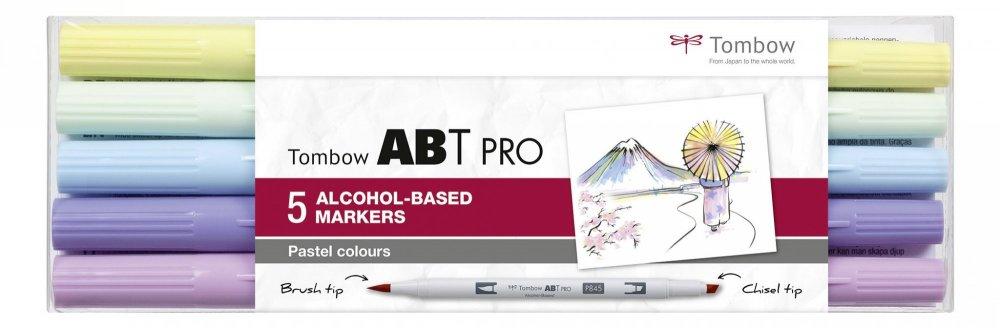 Sada oboustranných lihových fixů ABT PRO se dvěma hroty – Pastel colors, 5 ks