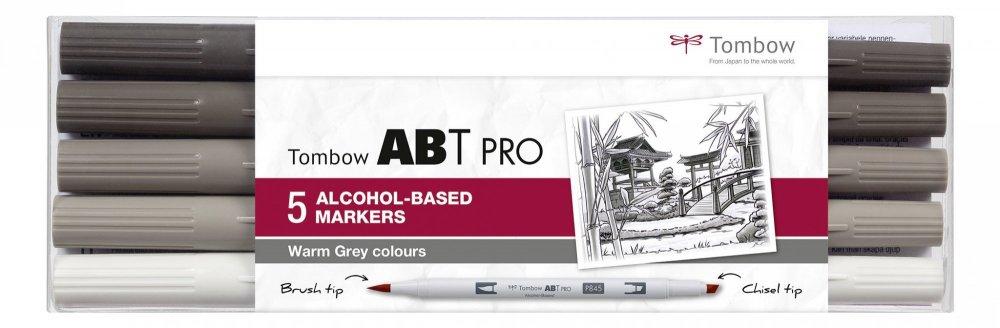Tombow Sada oboustranných lihových fixů ABT PRO – Warm Gray colors, 5 ks