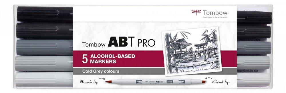 Tombow Sada oboustranných lihových fixů ABT PRO – Cold Gray colors, 5 ks