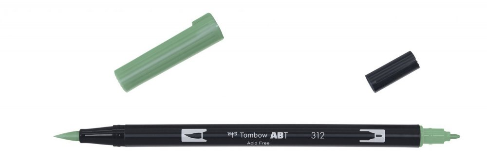 Oboustranný fix se dvěma hroty DUAL BRUSH PEN, holly green