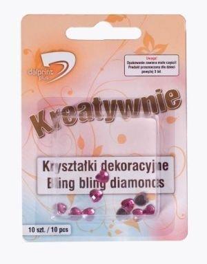 Dekorační diamanty – srdce – růžová 10ks