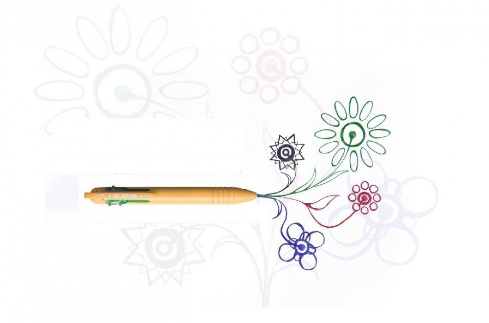 Čtyřbarevné COMPACT kuličkové pero žluté