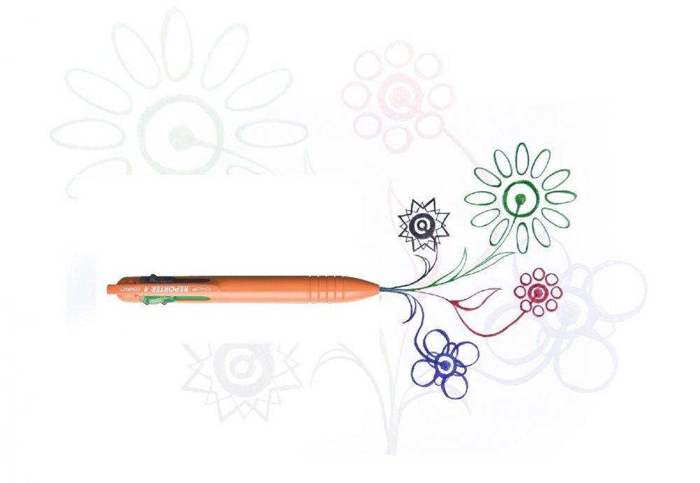 Čtyřbarevné COMPACT kuličkové pero oranžové