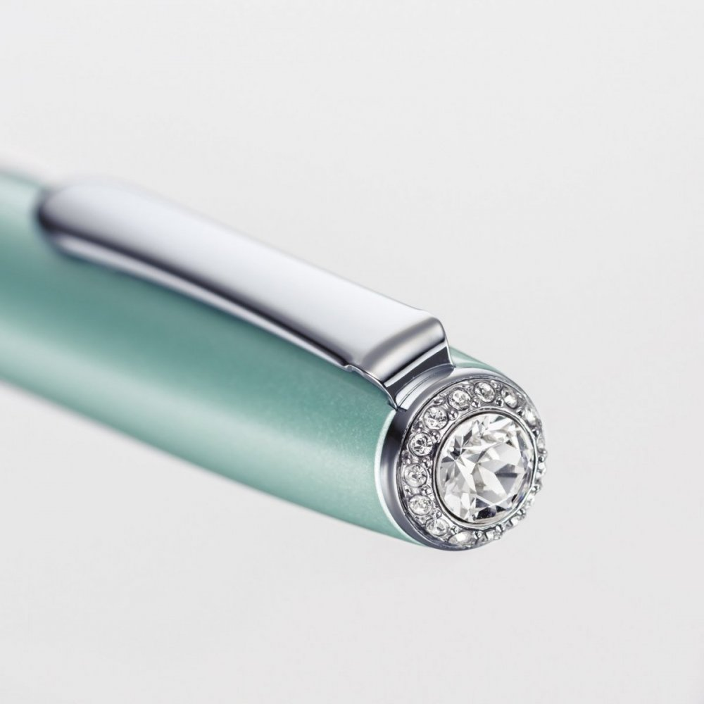 Rollerball Havanna SW, s krystaly Swarovski®, světle modrá, tuha 0,5 mm černá