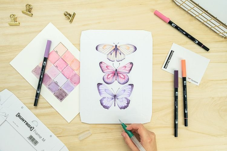 Tombow Sada Watercoloring Canvas Set Elegant Butterflies
