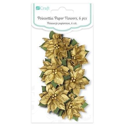 Papírové květy, 6 ks, zlatá