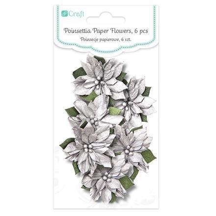 Papírové květy, 6 ks, stříbrná