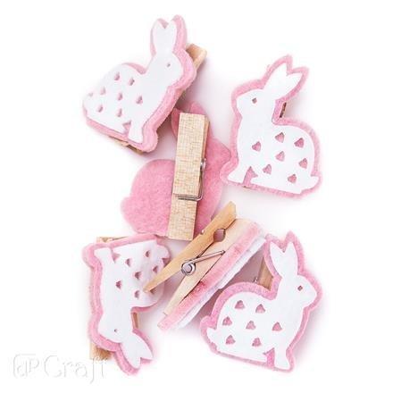 Dřevěné kolíčky – růžoví králíčci, 6 ks