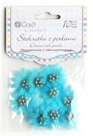Sedmikrásky s perlami – modré 10ks