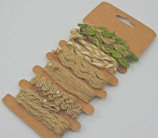 Jutové stuhy 6 druhů á 1m – zelené listy