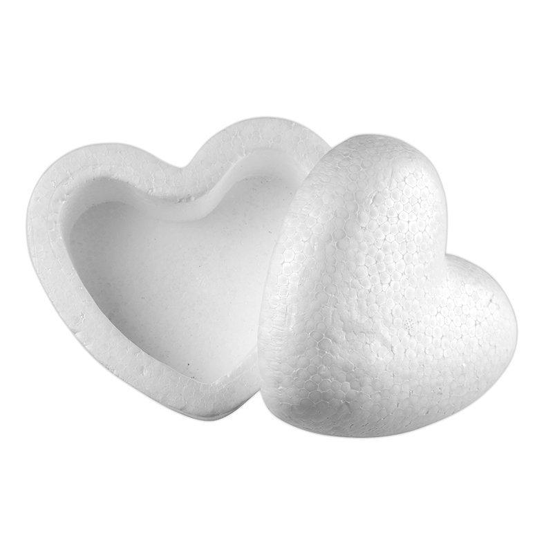 Polystyrenová krabička srdce 150mm, 3ks
