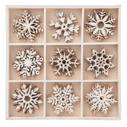 Dřevěné dekorace sněhové vločky 45 ks