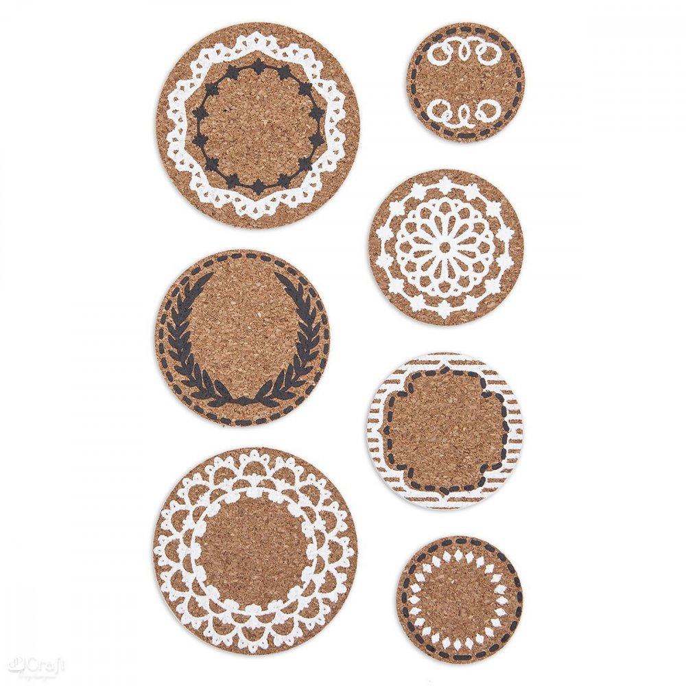 Korkové nálepky, kruhy, 7 ks